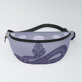 Snake And Sun - Mid-Century Minimalist Graphic Blue Fanny Pack