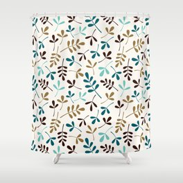 Assorted Leaf Silhouettes Teals Brown Gold Cream Ptn Shower Curtain