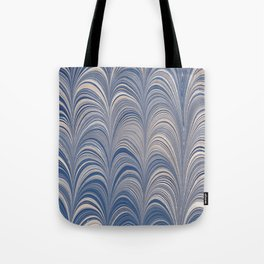 Marbled Blue and Gold Fountain Tote Bag
