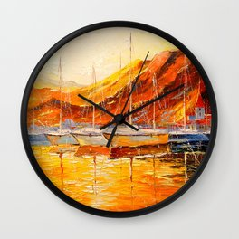 Golden sunset at the mountains Wall Clock
