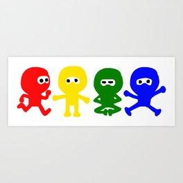 4 Color Cute Ninja Art Print
