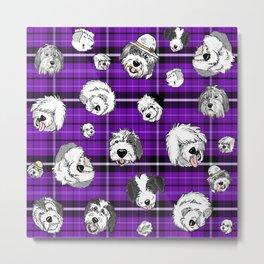 Plaid Sheepies Purple Metal Print