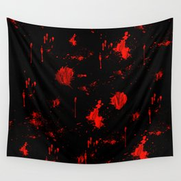Red Paint / Blood splatter on black Wall Tapestry
