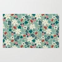 garden Area & Throw Rugs featuring Flower Garden by Anna Deegan