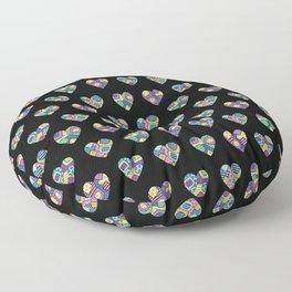 patchwork hearts Floor Pillow