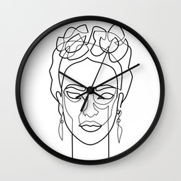 Woman Hair Dos Drawing in One Line Wall Clock