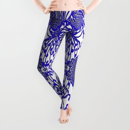 Vintage Blue-Purple  White Floral Spider Mums Art Leggings
