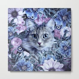 Cat In Flowers. Winter Metal Print