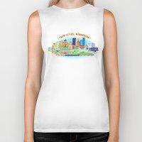 cities Biker Tanks featuring Twin Cities by Jane Gardner