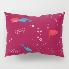 Red Shark and Dolphin Pillow Sham