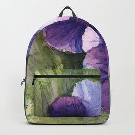 Purple Pansies Watercolor Flowers Painting Violet Floral Art Rucksack