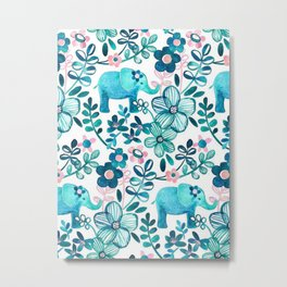 Blush Pink, White and Blue Elephant Metal Print
