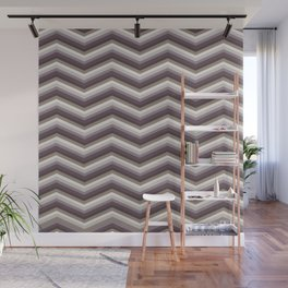Geometrical ivory gray purple modern chevron Wall Mural