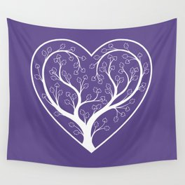 Ultraviolet Love Grows, heart shaped tree Wall Tapestry
