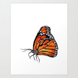 Watercolor Monarch Butterfly in Flight Art Print