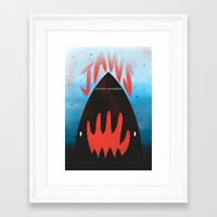 jaws Framed Art Prints featuring JAWS by Wharton