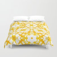 batik Duvet Covers featuring batik floral by clemm