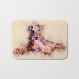 Airedale Terrier Sketch Digital Art Bath Mat