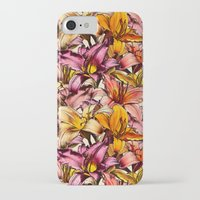 bedding iPhone & iPod Cases featuring Daylily Drama - a floral illustration pattern by micklyn