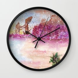 A New World Watercolor Art Illustration Wall Clock