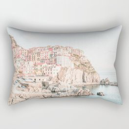 Positano, Italy Amalfi coast pink-peach-white travel photography in hd Rectangular Pillow