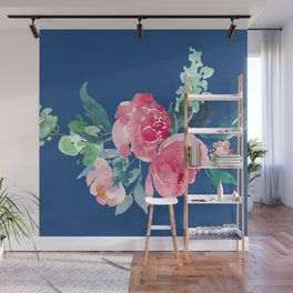 Blue and Pink Peony Watercolor Wall Mural