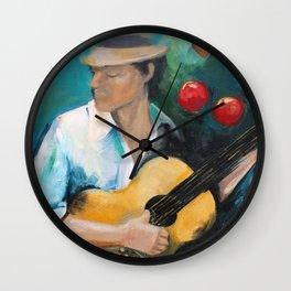 Blue Guitar Player Wall Clock