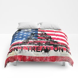 6e2245f1942 Viper N Bullet Holes On Old Glory - Gadsden and American Flag Comforters