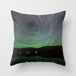 Mountain Lake With Star Trails Throw Pillow