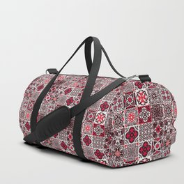 -A33- Red Lovely Moroccan Tiles Design. Duffle Bag