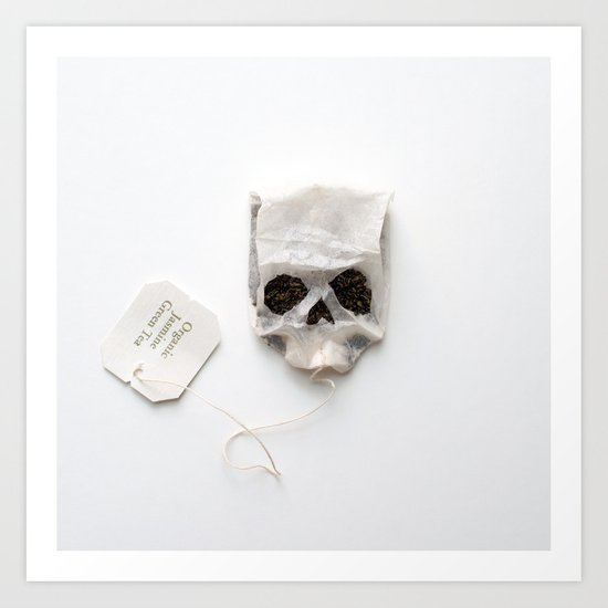 253. Tea Bag Skull Art Print