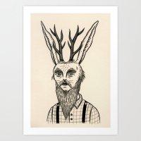 jackalope Art Prints featuring Jackalope by Jon MacNair