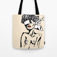 bondage Tote Bags featuring Bondage Color by Red Dust