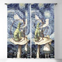 Alice & The Caterpillar Starry Night - Alice In Wonderland Blackout Curtain