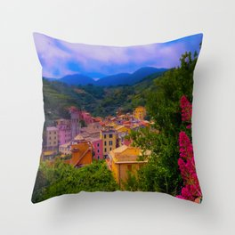 Village Life by the Sea Throw Pillow