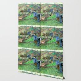 """Paul Gauguin """"Landscape of Brittany - L'Hiver à Pont-Aven, petit Breton et ramasseuse"""" Wallpaper"""