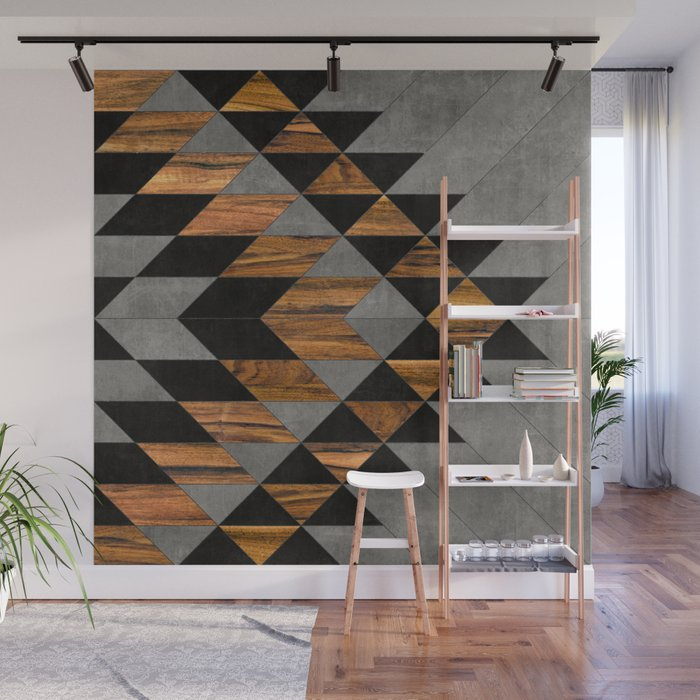 urban tribal pattern 10 aztec concrete and wood wall mural by
