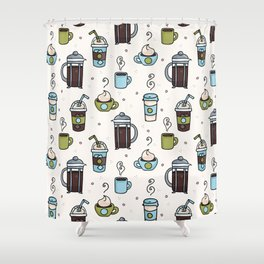 Vector coffee seamless repeat pattern illustration different caffeine drinks Shower Curtain