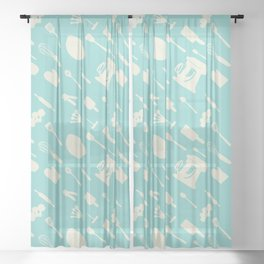 In The Kitchen — Turquoise Sheer Curtain