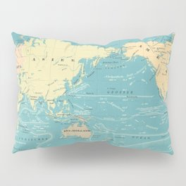 Vintage Map of The World (1845) Pillow Sham
