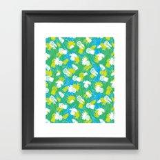Tropical green pinapples Framed Art Print