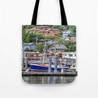 alaska Tote Bags featuring Alaska by Christine Workman