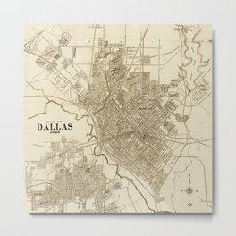 Dallas Vintage Map 1925 Sepia Metal Print