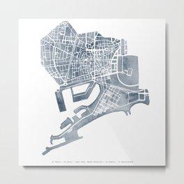 Barcelona map: Ciutat Vella (slate) Metal Print