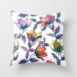 Magic fantasy flowers Throw Pillow
