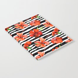 Hibiscus flower and stripes pattern Notebook