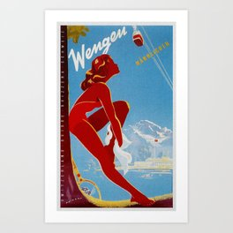 Wengen Switzerland - Vintage Travel Art Print