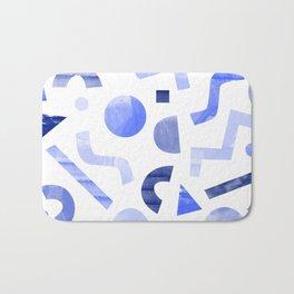 Memphis watercolor blue abstract pattern Bath Mat