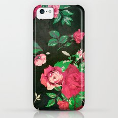 BLACK VINTAGE FLOWERS 2 - for iphone Slim Case iPhone 5c