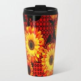 GRAPHIC DARK SUNFLOWERS ON RED COLOR PATTERN Travel Mug